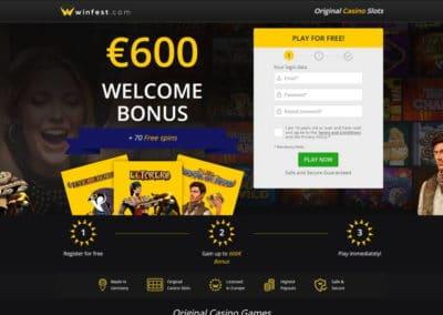 Winfest Casino Landing Page