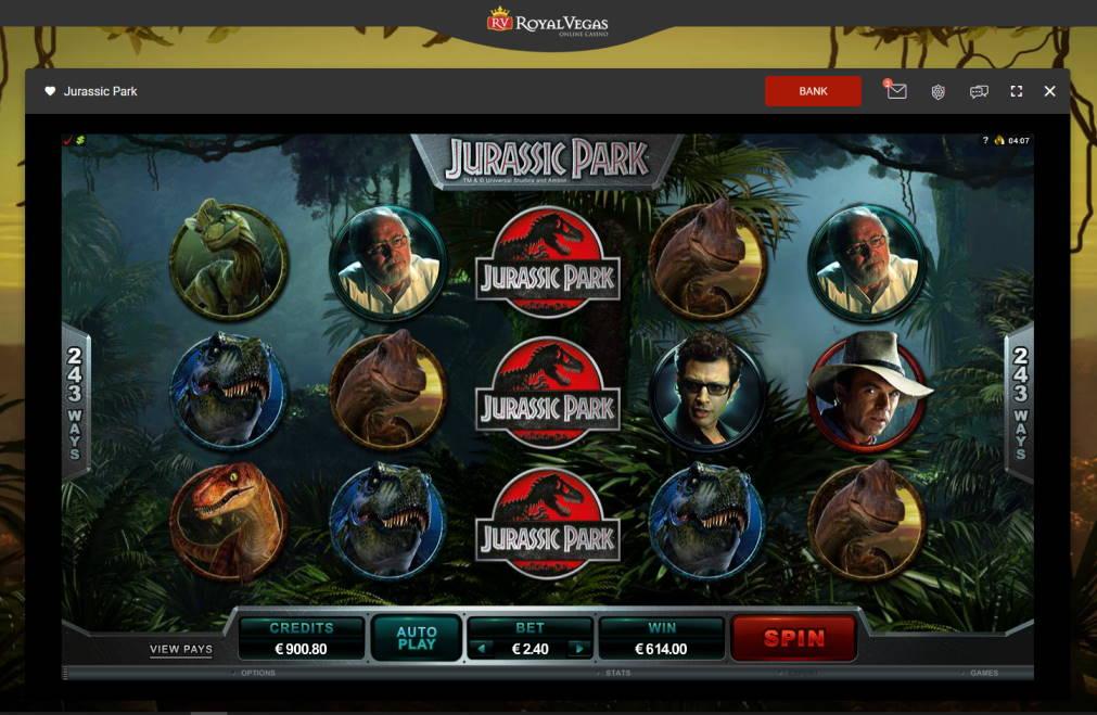 Jurassic Park Casino win picture by Klaspetterniklas 18.5.2020 614e 256X Royal Vegas