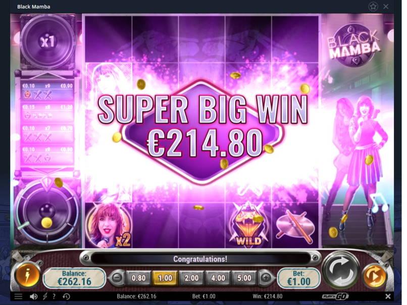 Black Mamba Casino win picture by Mrmork666 17.6.2020 214.80e 215X Vulkan Vegas