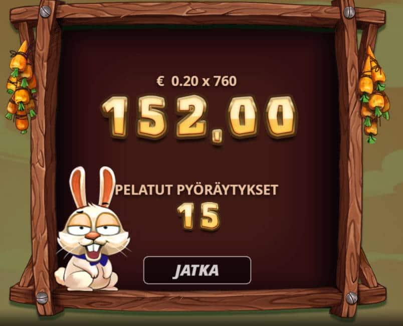 Bonus Bunnies Casino win picture by Sarvi 9.6.2020 152e 760X