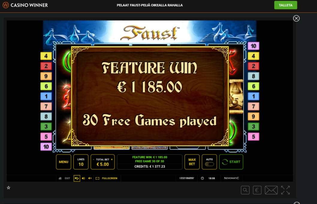 Faust Casino win picture by Banhamm 3.6.2020 1185X 237X Casino Winner