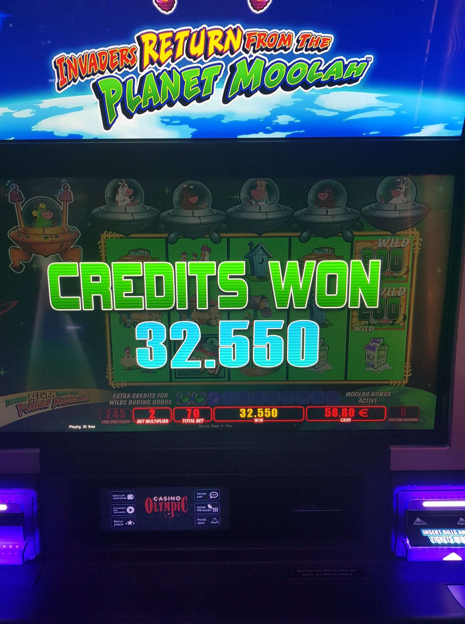 Invaders Return From the Planet Moolah Casino win picture by MrMork 5.6.2020 325.50e 465X Olympic Casino Landbace