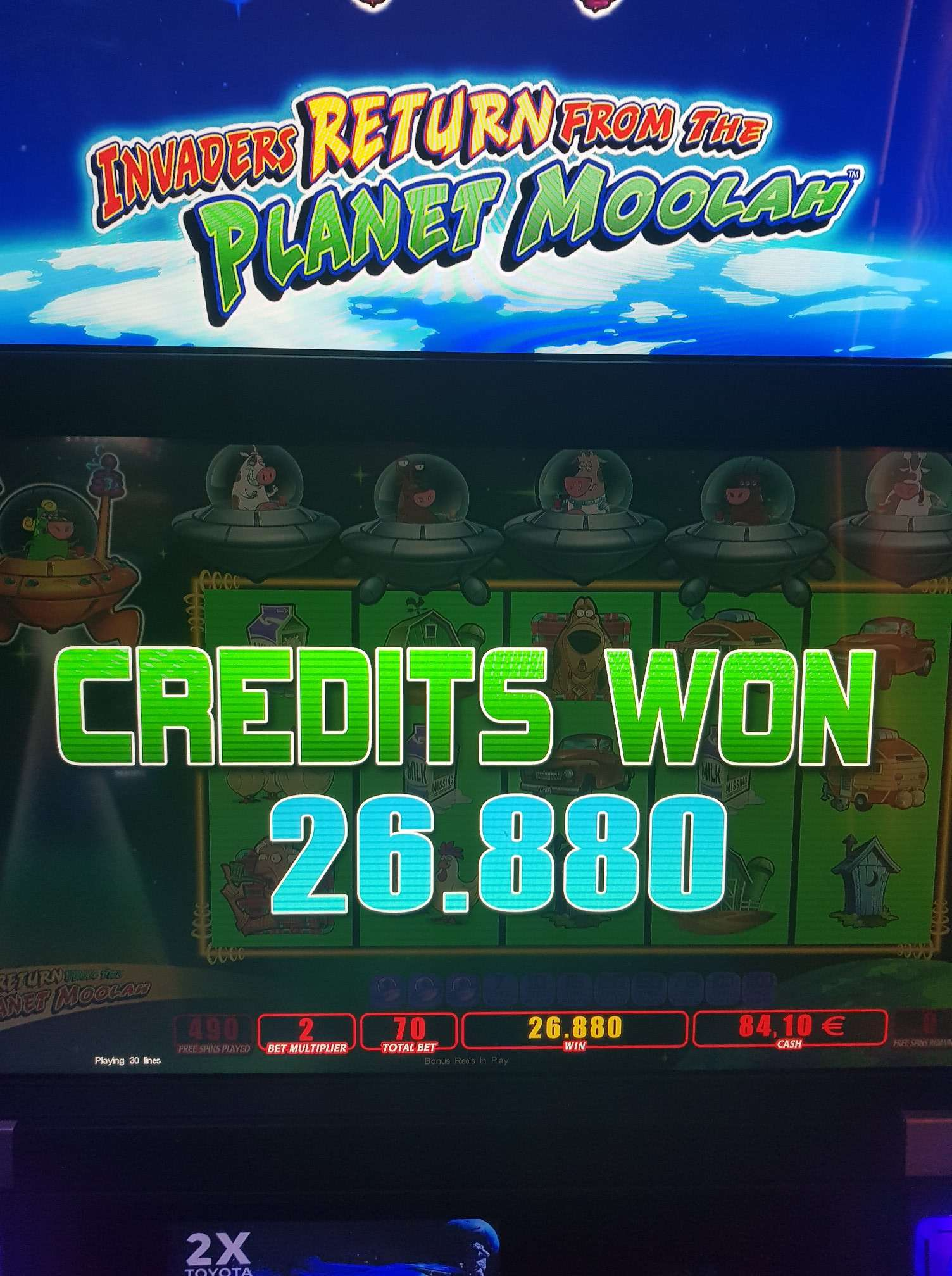 Invaders Return from the Planet Moolah Casino win picture by MrMork666 1.6.2020 268.80e 384X Casino Olympic Landbase