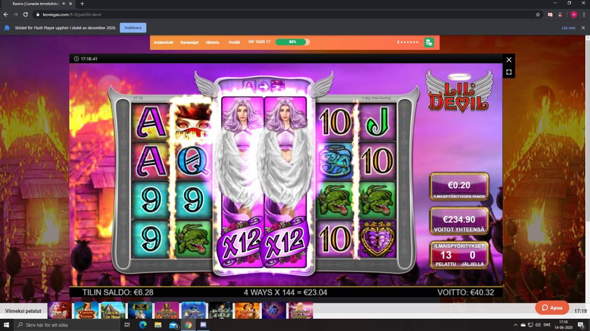 Lil Devil Casino win picture by Henkka1986 14.6.2020 234.60e 1175X LeoVegas