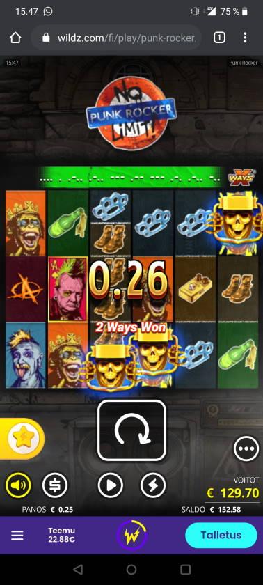 Punk Rocker Casino win picture by Temssii 19.6.2020 129.70e 519X Wildz