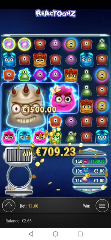 Reactoonz Casino win picture by SJaN 12.6.2020 1500e 1500X