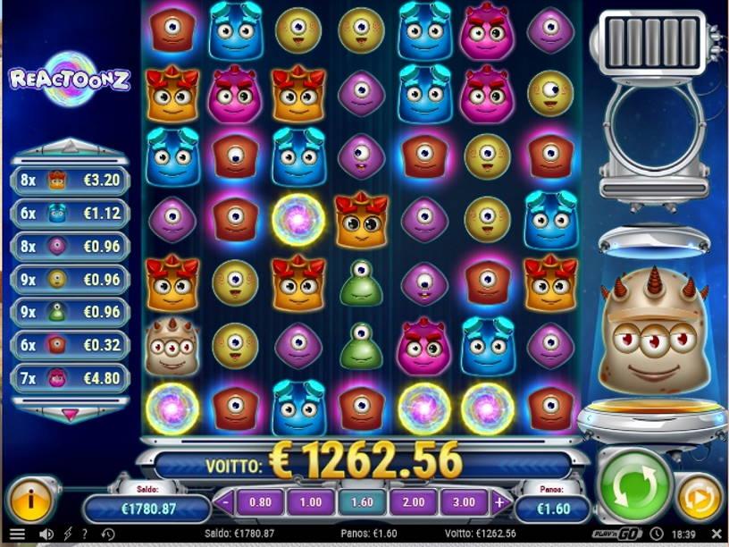 Reactoonz Casino win picture by vanhajuoppo1 1.6.2020 1262.56e 789X