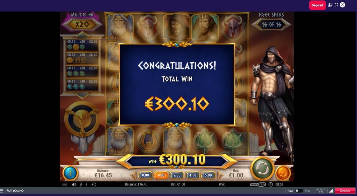 Rise of Olympus Casino win picture by Mrmork666 19.6.2020 300.10e 300X Party Casino