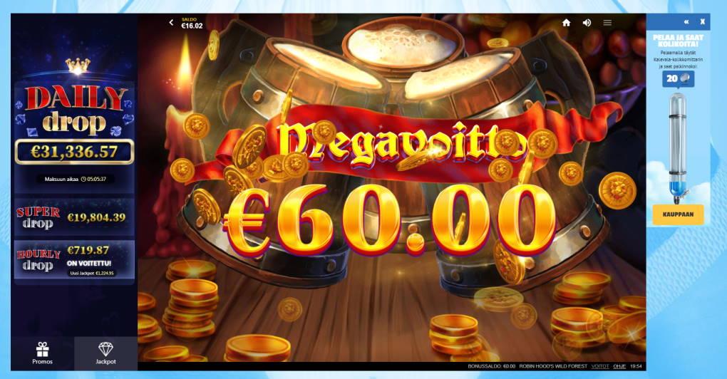 Robin Hoods Wild Forest Casino win picture by Banhamm 29.5.2020 60e 300X Wildz