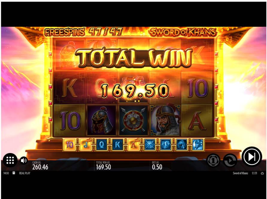 Swords of Khans Casino win picture by Kari Grandi 15.6.2020 169.50ee 339X