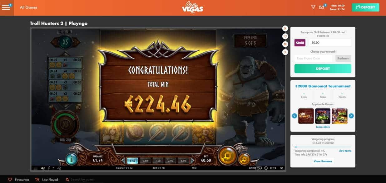 Troll Hunters 2 Casino win picture by Mrmork666 20.6.2020 224.46e 374X Slotty Vegas