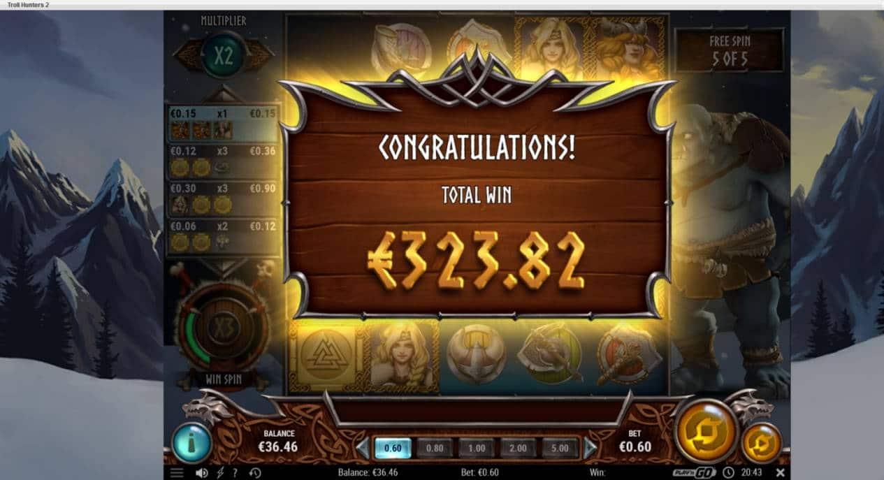 Troll Hunters 2 Casino win picture by Mrmork666 21.6.2020 323.82e 540X Optibet