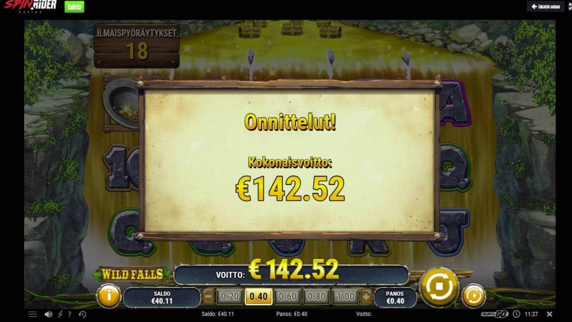 Wild Falls Casino win picture by houseri 8.6.2020 142.52e 356X Spin Rider Casino