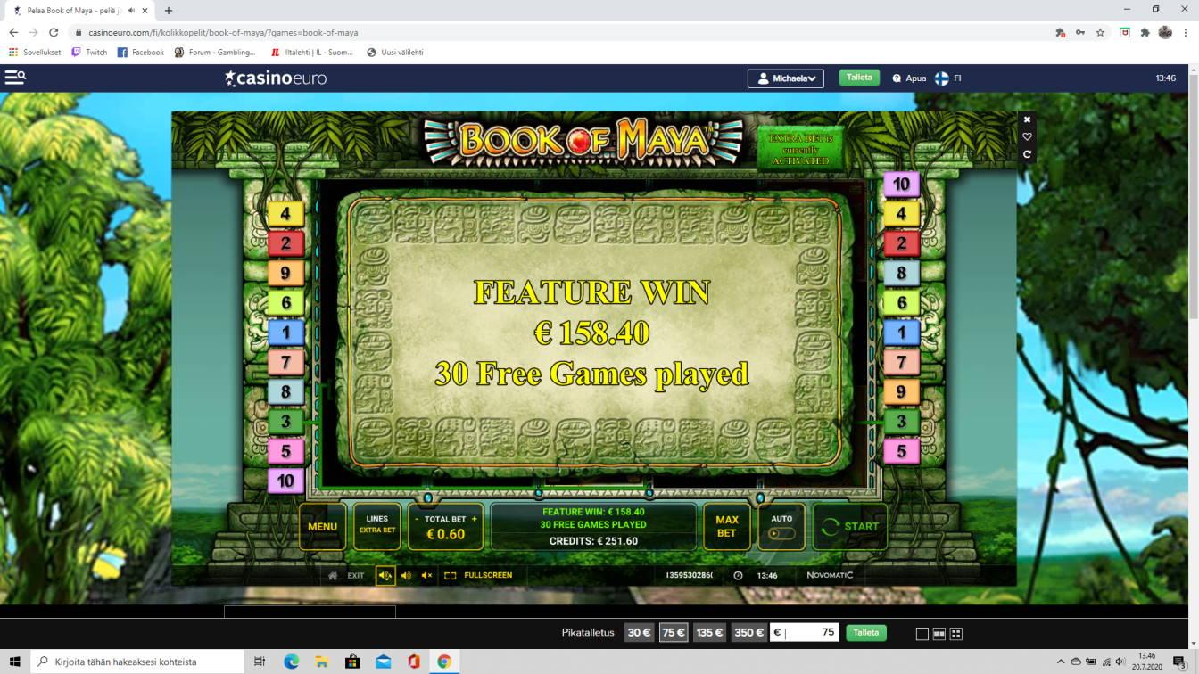 Book of Maya Casino win picture by tiikerililja87 20.7.2020 158.40e 264X Casino Euro