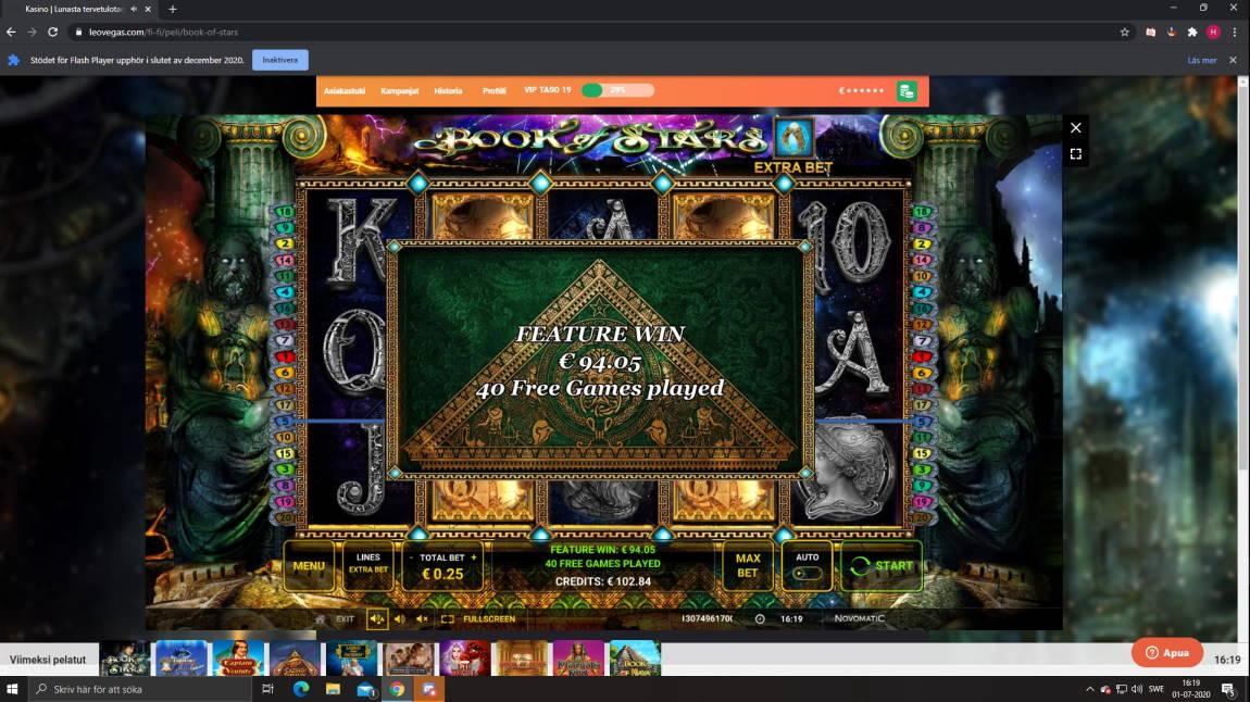 Book of Stars Casino win picture by Henkka1986 1.7.2020 94.05e 376X LeoVegas