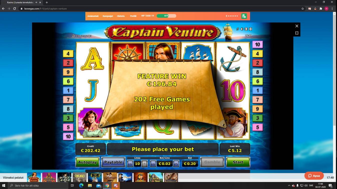 Captain Venture Casino win picture by Henkka1986 4.7.2020 196.84e 984X LeoVegas