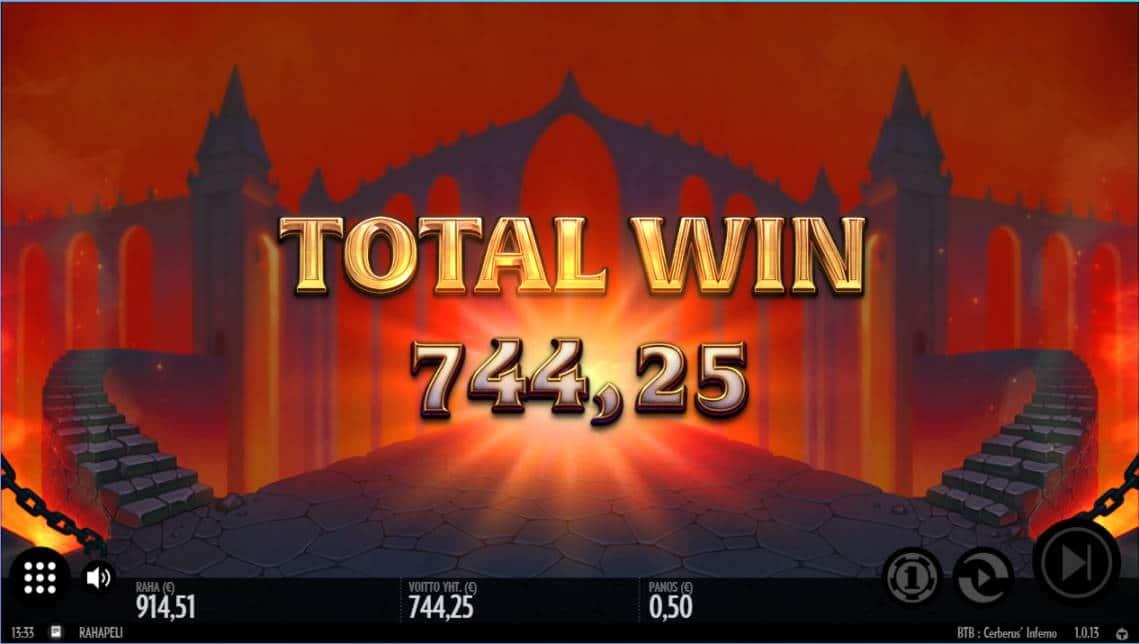 Cerberus Inferno Casino win picture by Morrimoykky 11.7.2020 744.25e 1489X