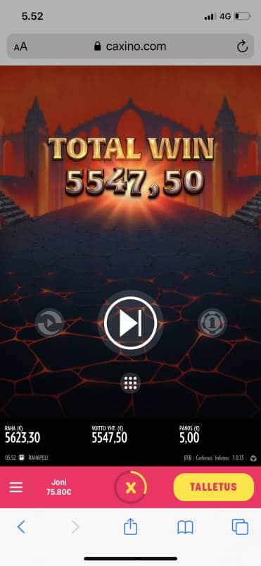 Cerberus Inferno Casino win picture by jiipee 3.7.2020 5547.50e 1110X