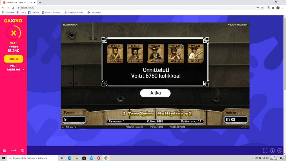Dead or Alive Casino win picture by tiikerililja87 25.6.2020 678e 753X Caxino