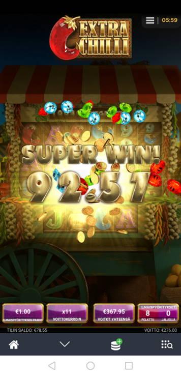 Extra Chilli Casino win picture by Hookos 10.7.2020 276e 276X