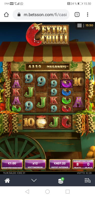 Extra Chilli Casino win picture by Hookos 10.7.2020 407.20e 407X