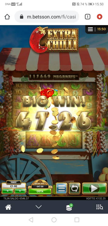 Extra Chilli Casino win picture by Hookos 8.7.2020 132.25e 132X Betsson