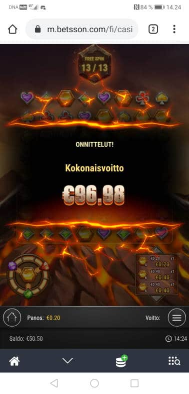 Gold Volcano Casino win picture by Hookos 18.7.2020 96.98e 485X Betsson