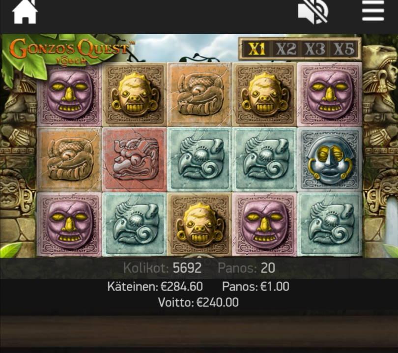 Gonzos Quest Casino win picture by jyrkkenkloppi 8.7.2020 240e 240X