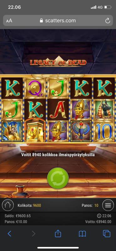 Legacy of Dead Casino win picture by terskamies 8.7.2020 8940e 894X
