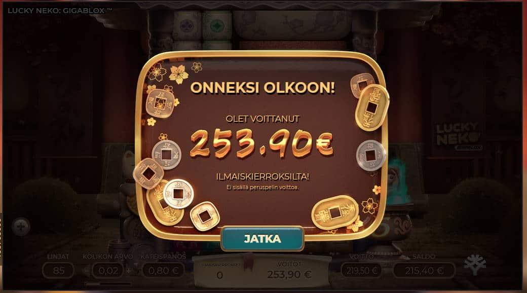 Lucky Neko Gigablox Casino win picture by Kari Grandi 26.6.2020 253.90e 317X