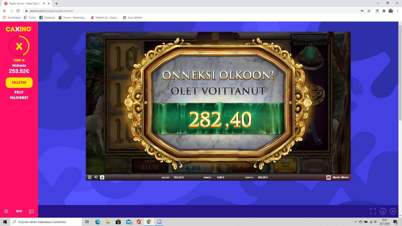 Mystic Mirror Casino win picture by tiikerililja87 20.7.2020 282.40e 353X Caxino