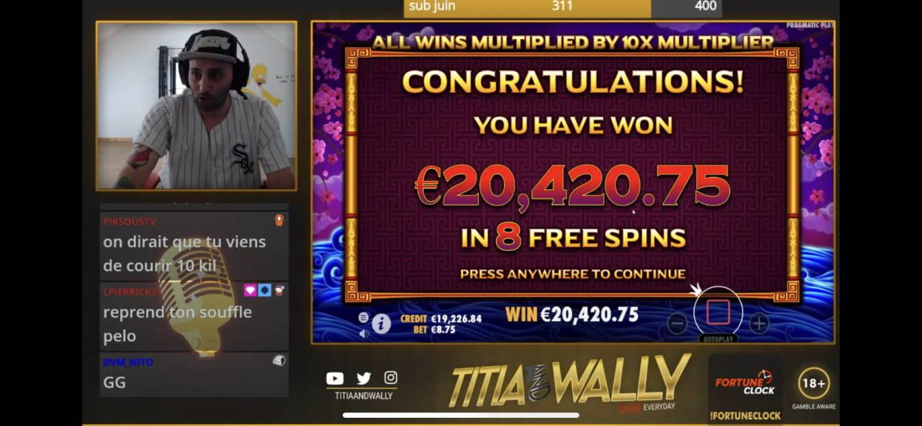 Peking Luck Casino win picture by Wallystayfunnytv 10.5.2020 20420.75e 2334X
