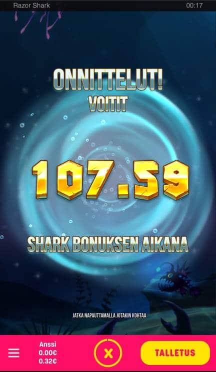 Razor Shark Casino win picture by Natikka 23.6.2020 107.59e 1076X Caxino