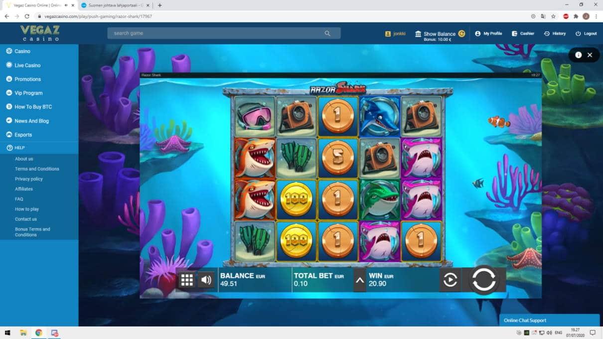 Razor Shark Casino win picture by jonkki 7.7.2020 20.90e 209X Vegaz Casino