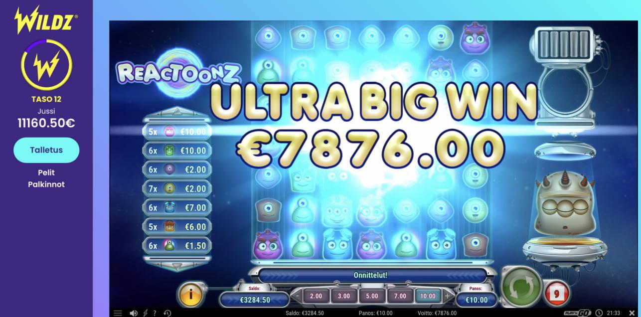 Reactoonz Casino win picture by Pottijussi 5.7.2020 7876e 788X Wildz