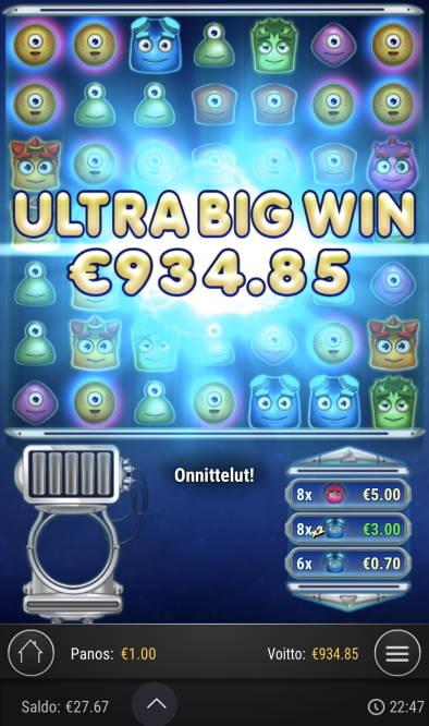 Reactoonz Casino win picture by sonefinland 11.7.2020 934.85e 935X
