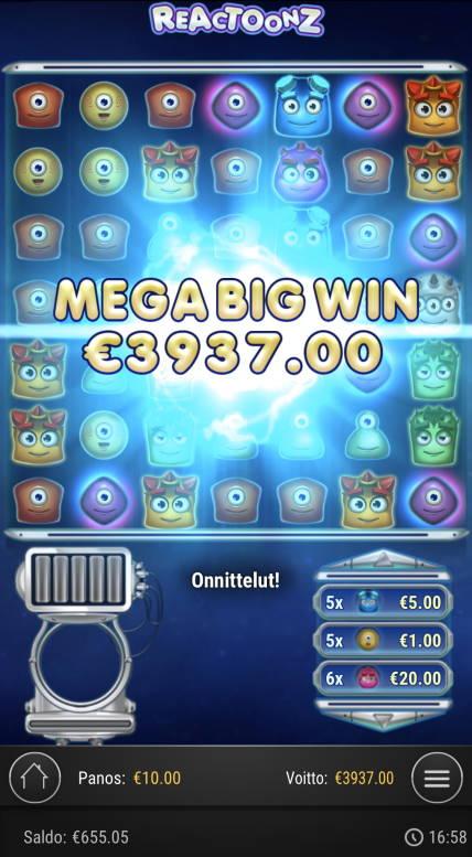 Reactoonz Casino win picture by sonefinland 12.7.2020 3937e 394X