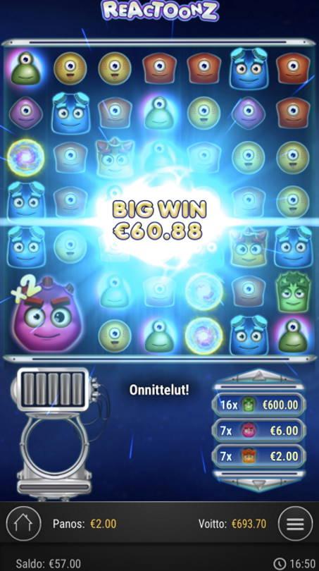 Reactoonz Casino win picture by sonefinland 12.7.2020 693.70e 347X
