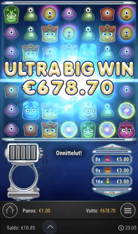 Reactoonz Casino win picture by sonefinland 14.7.2020 678.70e 679X