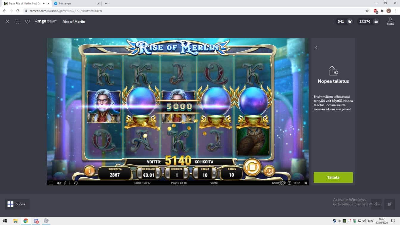 Rise of Merlin Casino win picture by jonkki 30.6.2020 51.40e 514X ComeOn