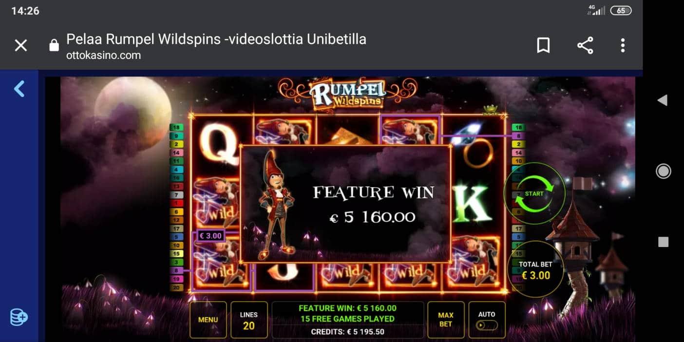 Rumpel Wildspins Casino win picture by Viljo 8.7.2020 5160e 1720X