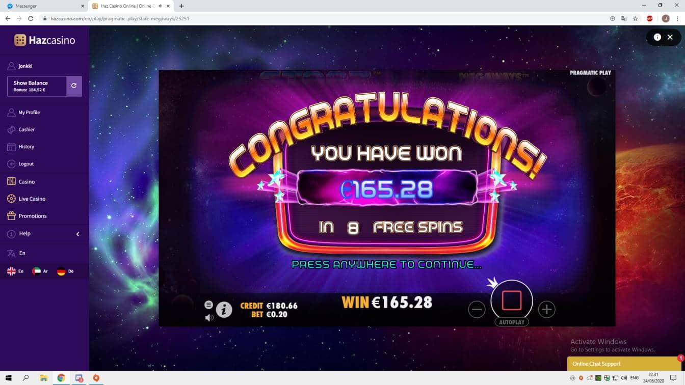 Starz Megaways Casino win picture by jonkki 24.6.2020 165.28e 826X HazCasino