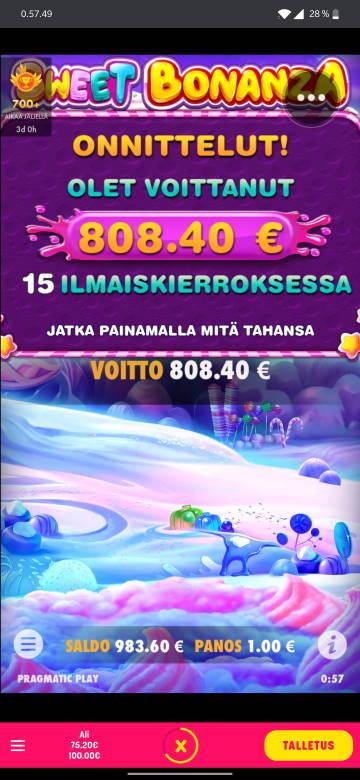 Sweet Bonanza Casino win picture by alkkade 23.6.2020 808.40e 808X Caxino