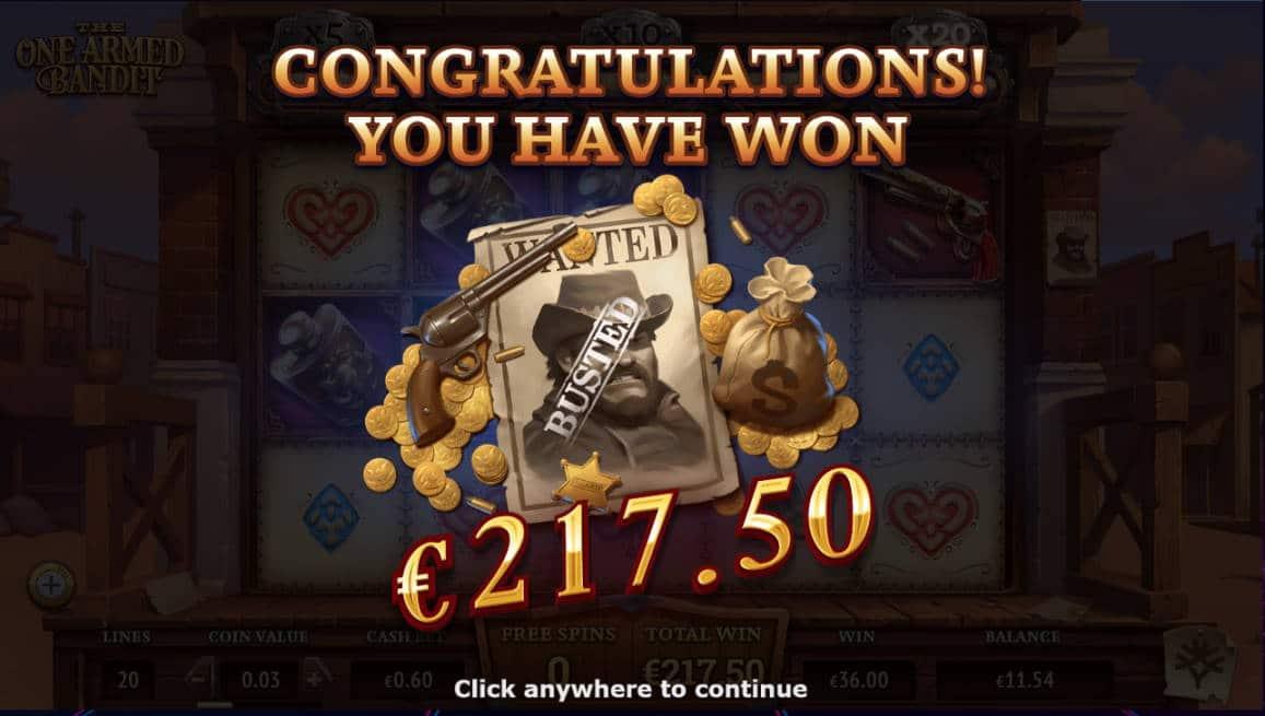 The One Armed Bandit Casino win picture by Kari Grandi 24.6.2020 217.50e 363X