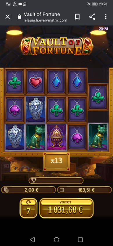 Vault of Fortune Casino win picture by H.Inaaja 11.7.2020 1031.60e 516X