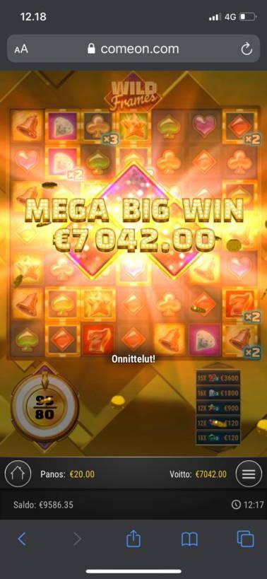 Wild Frames Casino win picture by Pottijussi 19.7.2020 7042e 352X Comeon