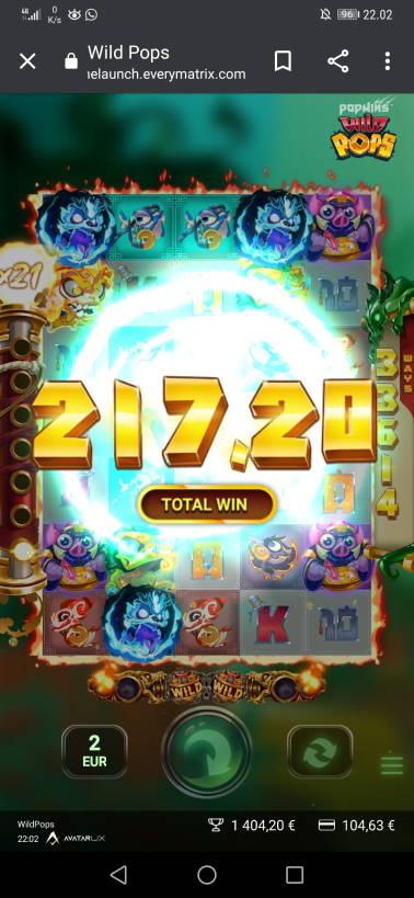 Wild Pops Casino win picture by H.Inaaja 11.7.2020 217.20e 109X