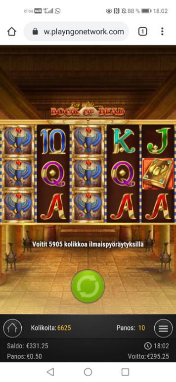 Book of Dead Casino win picture by jyrkkenkloppi 27.7.2020 295.25e 591X