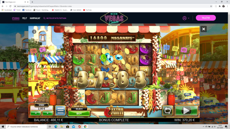 Extra Chilli Casino win picture by tiikerililja87 30.7.2020 370.20e 185X NeonVegas