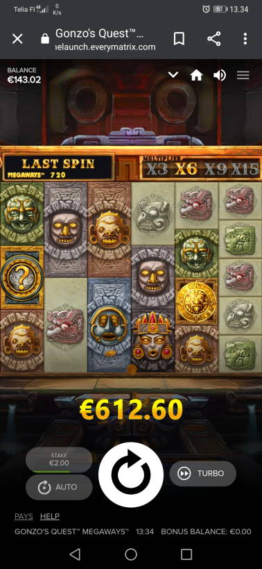 Gonzos Quest Megaways Casino win picture by H.Inaaja 23.7.2020 612.60e 306X